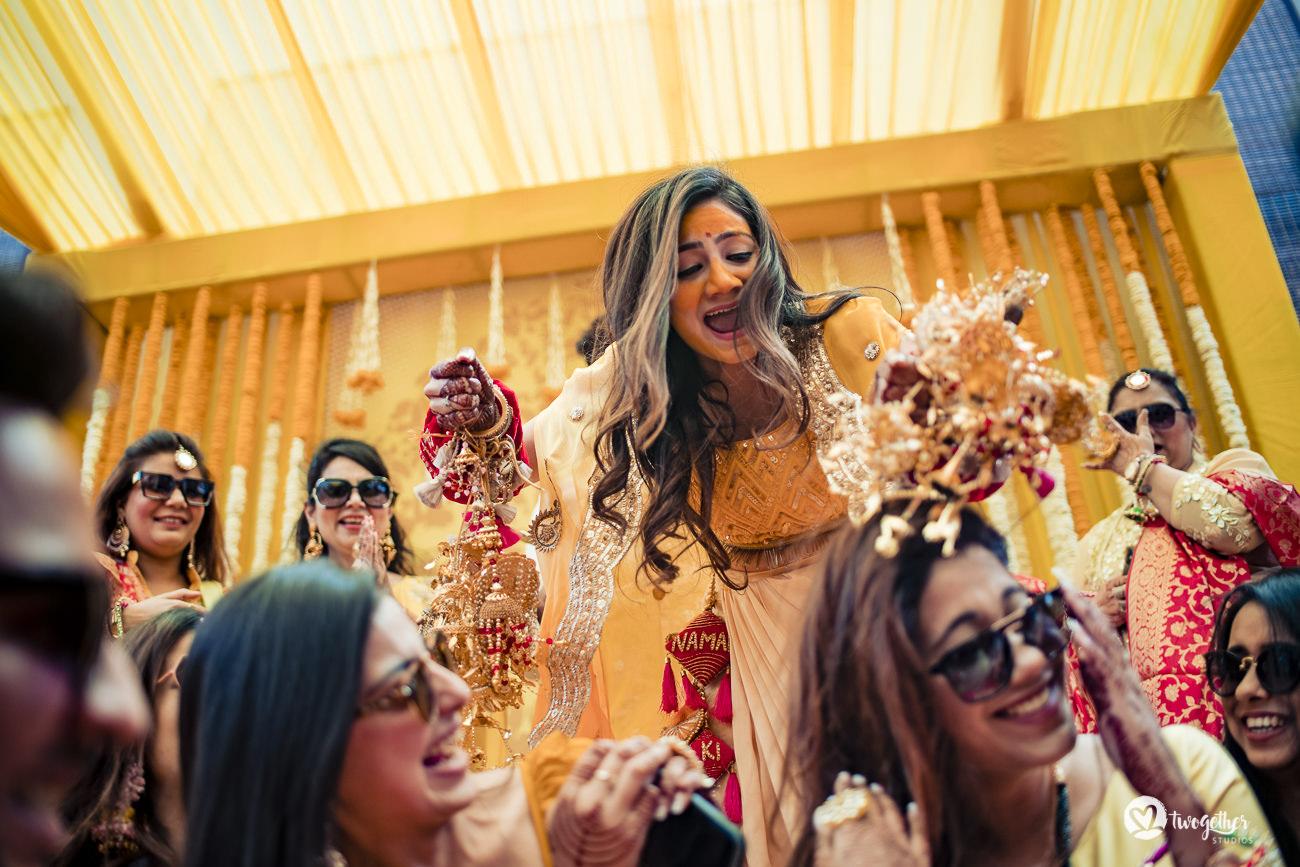 Indian bride haldi in a Delhi wedding in the Trident hotel.