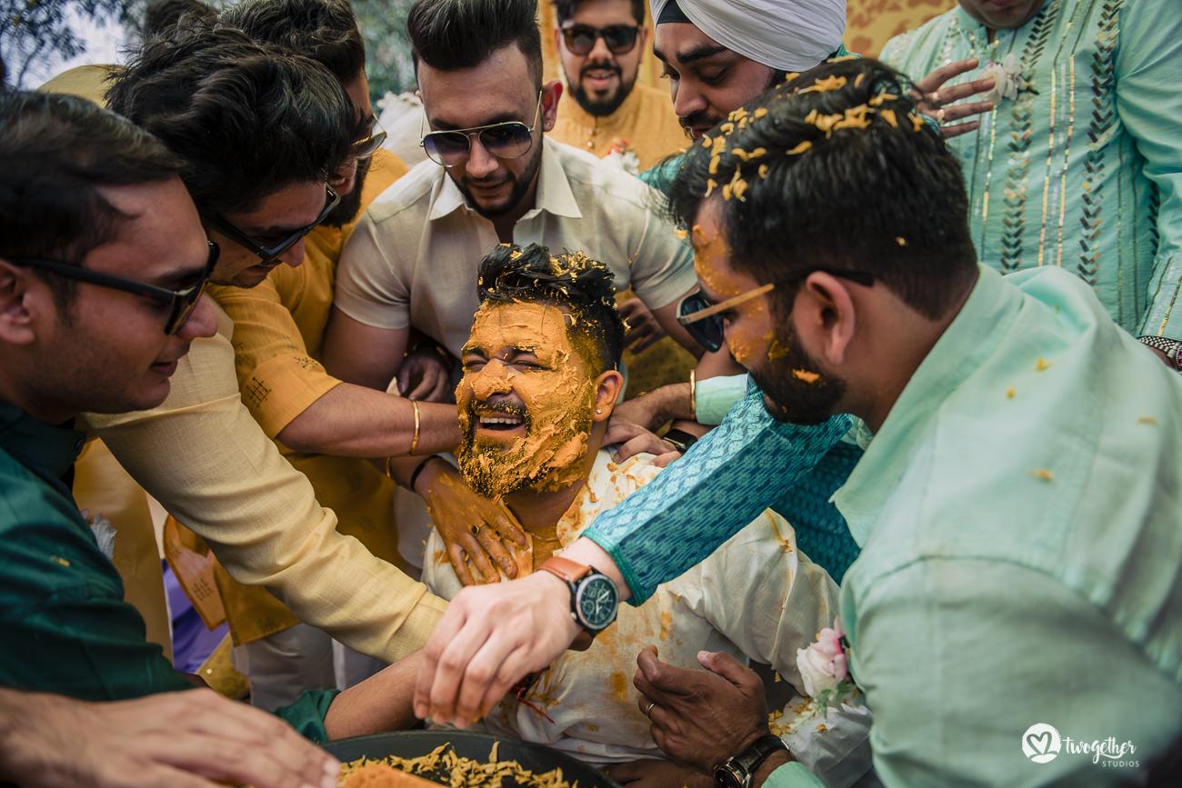 Indian groom haldi in a Delhi wedding in the Trident hotel.