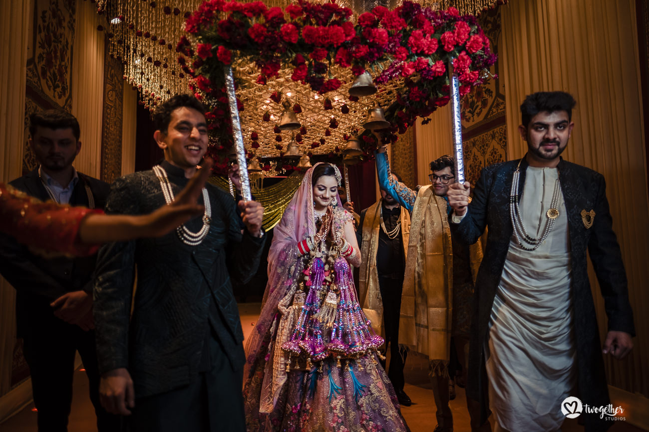 Indian bride entry in a Delhi wedding in the Trident hotel.
