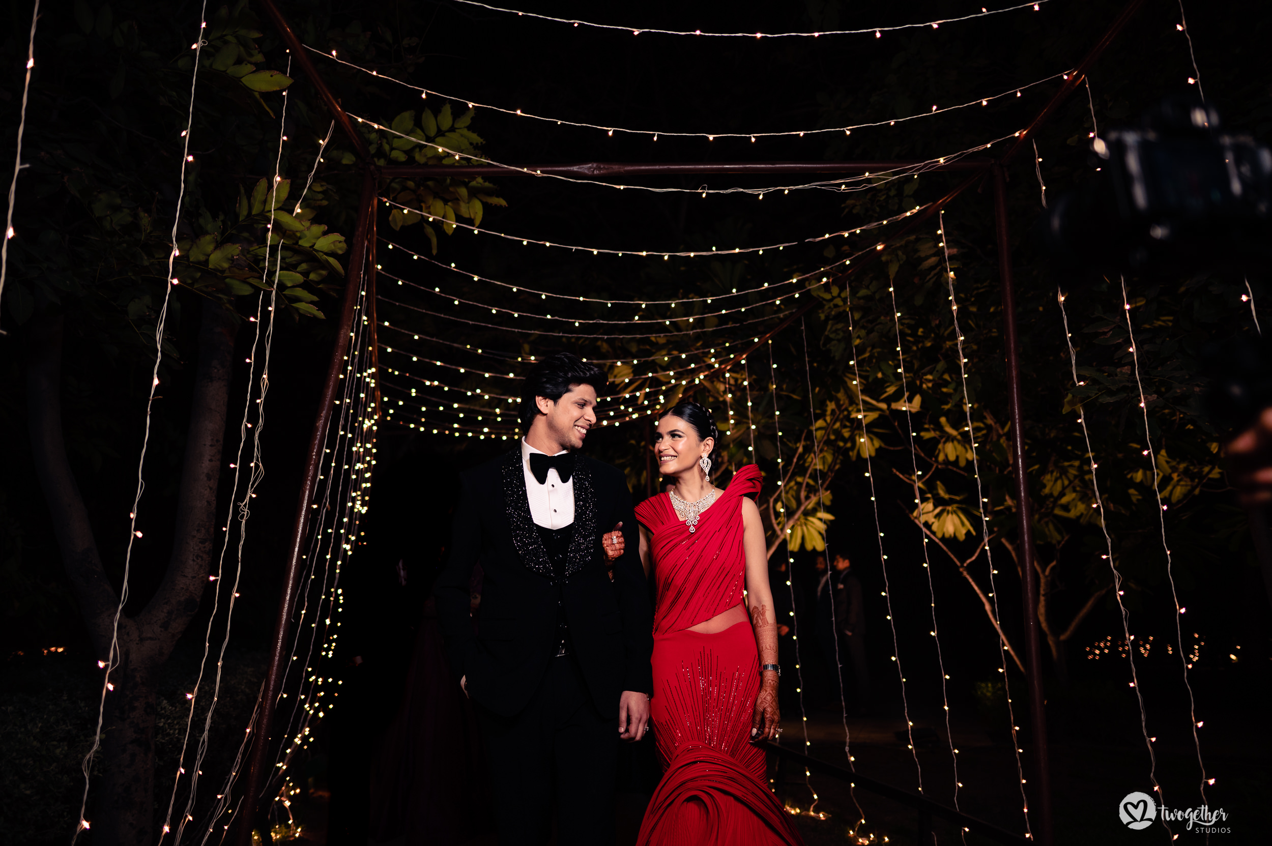 Sangeet night couple portrait at an Indian wedding in Westin Sohna.