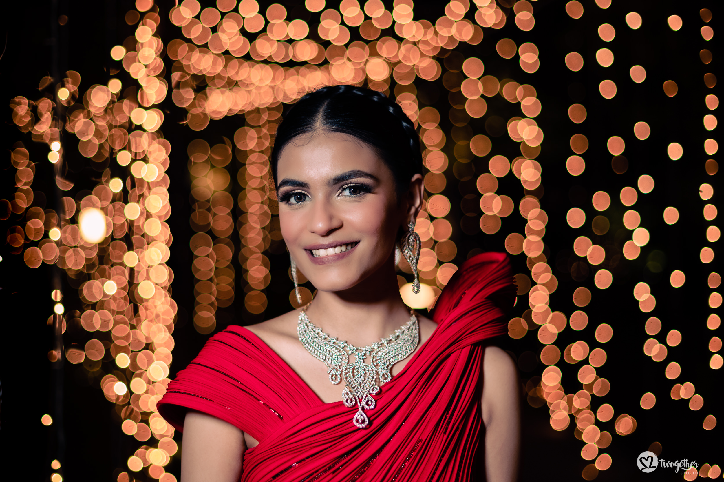 Sangeet night bride portrait at an Indian wedding in Westin Sohna.