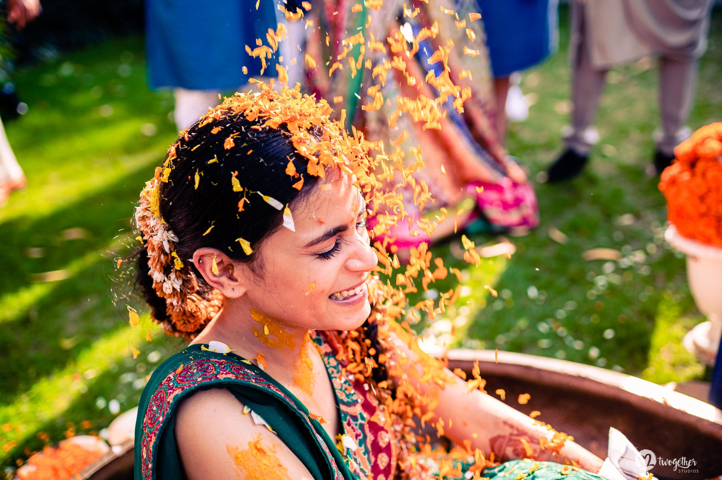 Bride haldi at an Indian wedding in Westin Sohna.